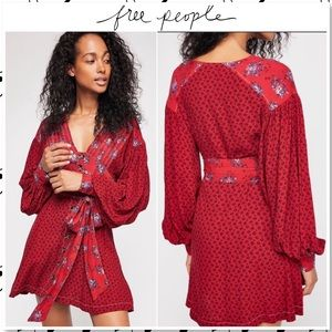 NWOT Free People Wonderland Floral Mini Dress Red